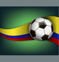 with soccer ball and flag of colombia vector image