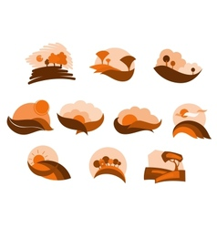 Autumnal nature icons and symbols vector image vector image