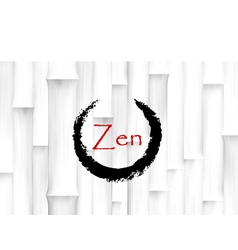 Bamboo Background with Zen Circle Symbol vector image