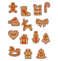 Brown christmas gingerbreads and cookies vector