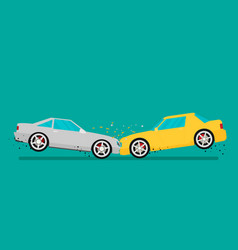 car crash two cars hit head-on flat design vector image