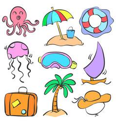 Doodle summer holiday cartoon style vector
