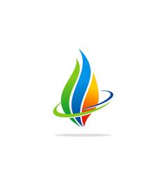 eco bio fire gas logo vector image vector image