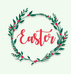 happy easter lettering with flower flame vector image vector image