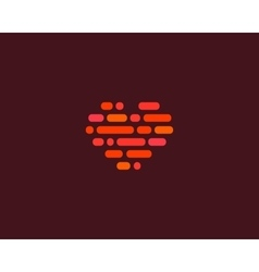 Love heart social logotype Abstract line vector image