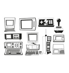 monochrome of technician gadgets vector image