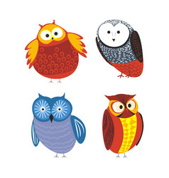 owls cartoon kid funny characters with feather vector image