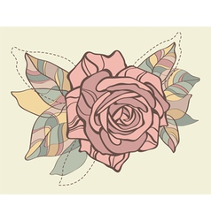Retro card with stylized rose vector image