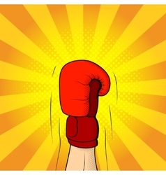 Hand of boxer in boxing glove vector