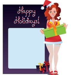 happy holidays card with sexy girl vector image vector image