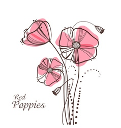 retro poppies vector image