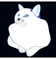 stylized white cat vector image