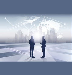 two business man silhouette businesspeople human vector image