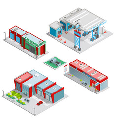 Car Service Center Buildings Isometric Composition vector image