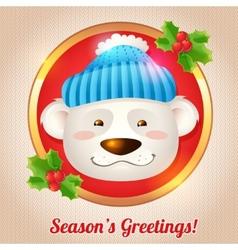 Christmas bear card vector image vector image