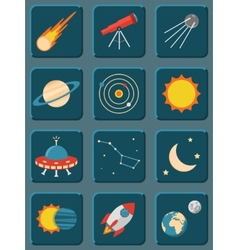 Collection of colorful flat astronomy and space vector image