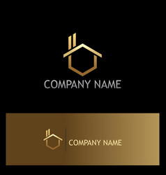 gold house realty company logo vector image vector image