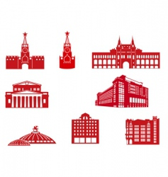 Moscow building icons vector image