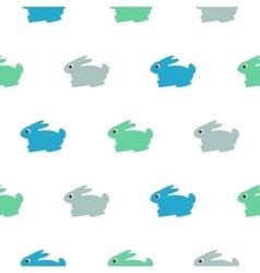 Rabbit blue green on white kid pattern vector image