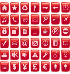 red icons set vector image