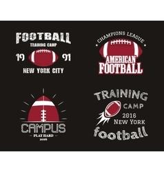 Set of american football team campus badges logos vector image