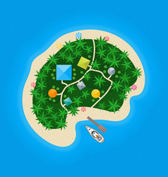 cartoon color tropical island in water vector image vector image