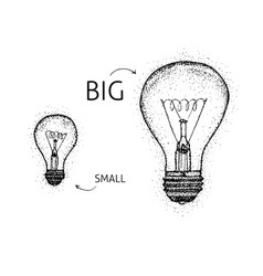 dotwork big small lightbulbs vector image vector image