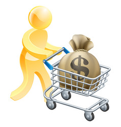 money shopping cart trolley person vector image vector image