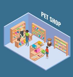 pet shop cutaway interior flat isometric vector image vector image