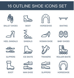 16 shoe icons vector