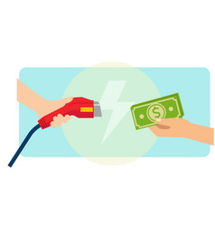 a man paying cash for electric car charging vector image