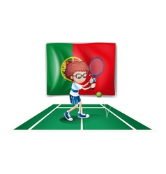 A Portugal flag at the back of a boy playing vector image