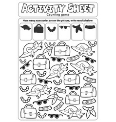 Activity sheet counting game 4 vector