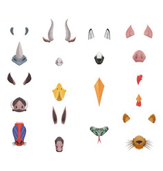Animal face elements set ears and nose vector