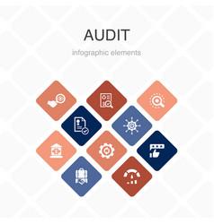 Audit infographic 10 option color designreview vector