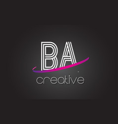 Ba b a letter logo with lines design and purple vector