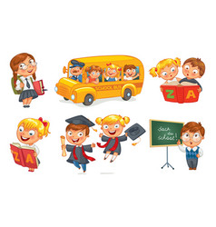 Back to school funny cartoon character vector