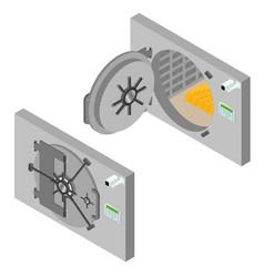 Bank saving door set isometric view vector