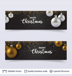 Banners with shiny fir tree toy balls and text vector