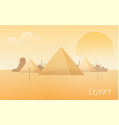beautiful egypt desert landscape with silhouettes vector image