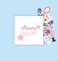 Beauty salon banner with cosmetics makeup and vector
