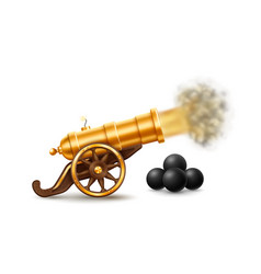 big golden cannon with fire vector image