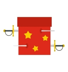 Box of tricks with daggers icon flat style vector