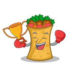 Boxing winner kebab wrap character cartoon vector