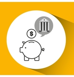 Building bank economy money piggy vector