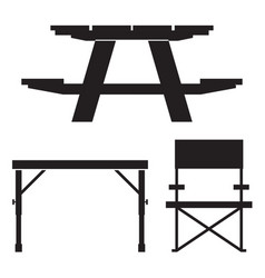 Camping and picnic table icons vector