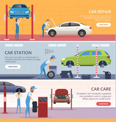 Car service banners mechanic workshop repair auto vector