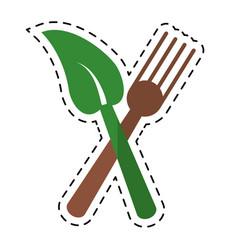 cartoon fork leaf healthy food symbol vector image