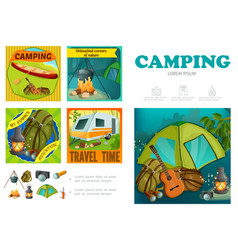 cartoon summer camping infographic template vector image