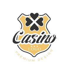 casino logo premium design vintage gambling badge vector image